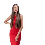 Beau modèle dans la robe rouge Image stock