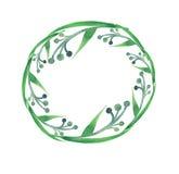 Beau modèle de croquis de main d'aquarelle de cercle d'herbe Images libres de droits
