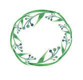 Beau modèle de croquis de main d'aquarelle de cercle d'herbe sans couture Images libres de droits