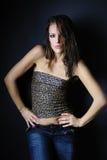 Beau modèle de fille dans le sujet de léopard Photo libre de droits