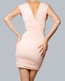 Beau modèle de mode dans la robe rose Photos libres de droits