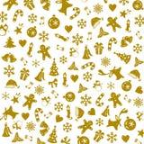 Beau modèle de Noël avec le vecteur décoratif d'or d'éléments Image libre de droits