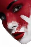 Beau modèle femelle avec la peau blanche et sang sur le visage Photographie stock