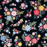 Beau modèle floral écervelé avec les fleurs abstraites mignonnes dans le vecteur Fond naturel sans joint illustration libre de droits