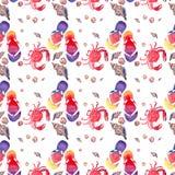 Beau modèle lumineux coloré d'été de confort d'aquarelle mignonne en pastel de coquillages de crabes rouges de bascules électroni Images libres de droits