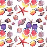 Beau modèle lumineux coloré d'été de confort des coquillages mignons en pastel de crabes rouges de bascules électroniques de plag Images libres de droits