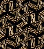 Beau modèle polygonal d'or sans couture sur le noir Fond abstrait géométrique Approprié au textile, tissu, empaquetant Images stock