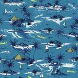 Beau modèle sans couture d'île d'océan bleu monotone sur le blanc illustration libre de droits