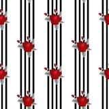 Beau modèle sans couture des roses rouges sur le fond noir et blanc rayé  illustration de vecteur
