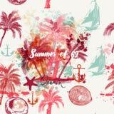 Beau modèle tropical de vacances avec les paumes et les grunges roses illustration stock