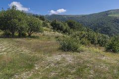 Beau Mountain View du passage de Troyan Troyan Balkan est exceptionnellement pittoresque et offre une combinaison de merveilleux image stock