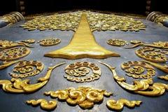 Beau mur en Wat Doi Pa Jhana Thailand Lampang photographie stock