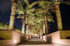 Beau musée d'art islamique dans Doha, Qatar la nuit Images libres de droits