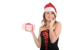 beau Noël de présent de fille Photos libres de droits