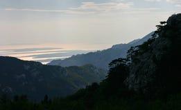 Beau panorama de bord de la mer de Paklenica NP Photographie stock