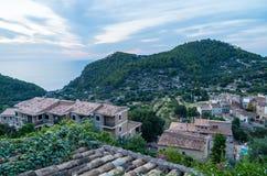 Beau panorama de la ville Estellencs sur Majorque, Espagne Photos stock