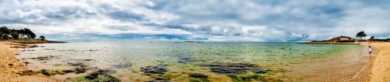 Beau panorama de plage en Bretagne, France photographie stock