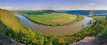 Beau panorama du canyon de rivière du Dniestr l'Ukraine, l'Europe Images stock