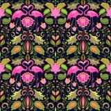 Beau papier peint sans couture hawaïen avec les fleurs exotiques, les feuilles tropicales et le flamant rose pour la conception d illustration stock