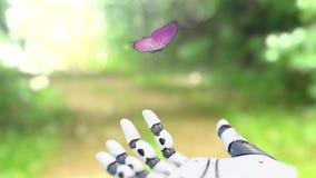Beau papillon sur les terres de traînée de forêt sur la main du robot Belle 3d animation, 4K banque de vidéos