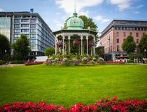 Beau parc avec des fleurs, Bergen Photo libre de droits