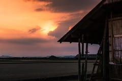 Beau paysage à la ferme de sel de coucher du soleil Photos libres de droits