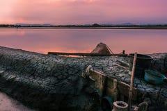 Beau paysage à la ferme de sel de coucher du soleil Photo libre de droits