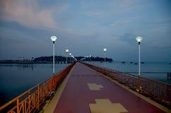 Beau paysage au crépuscule du remblai de mer d'Andaman pour mettre en communication Blair India Photos stock