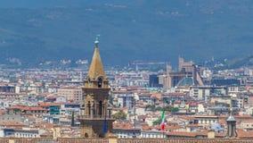 Beau paysage au-dessus du timelapse, panorama sur la vue historique de Florence de Boboli Gardens Giardino di Boboli banque de vidéos