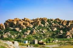 Beau paysage avec de grandes roches, Hampi, Inde images stock