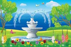 Beau paysage avec la fontaine blanche illustration de vecteur