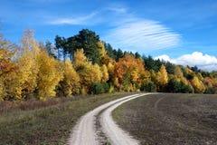 Beau paysage avec la route près de la forêt d'automne (boucle, but, Photographie stock libre de droits