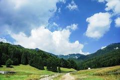 Beau paysage avec le ciel bleu dramatique Montagnes carpathiennes Images stock