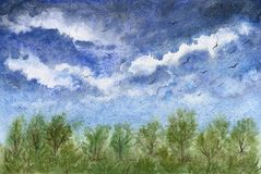 Beau paysage avec le ciel nuageux et la forêt bleus photos libres de droits