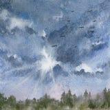 Beau paysage avec le ciel nuageux et la forêt bleus photo libre de droits