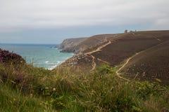 Beau paysage cornouaillais avec le premier plan de bruyère pourpre Photo stock