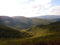 Beau paysage d'automne de montagne Bieszczady Photographie stock libre de droits