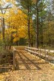 Beau paysage d'or d'automne et pont en bois photos stock