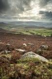 Beau paysage d'Autumn Fall de vallée d'espoir à partir du bord de Stanage Photo libre de droits