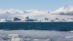 Beau paysage d'hiver au-dessus de lac Jokulsarlon, Islande Images stock