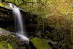 Beau paysage de cascade Cascade à écriture ligne par ligne Sunlit Photo stock
