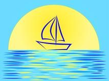 Beau paysage de coucher du soleil avec un voilier sur le fond d'un soleil énorme illustration de vecteur