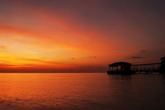 Beau paysage de coucher du soleil de Coral Park Tioman Island During Image libre de droits