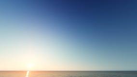 Beau paysage de flambage de coucher du soleil au rendu de la mer 3D Photo libre de droits