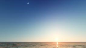 Beau paysage de flambage de coucher du soleil au rendu de la mer 3D Images libres de droits