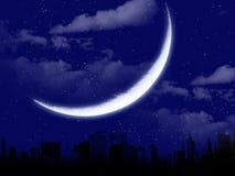 Beau paysage de lune avec la silhouette de ville Photo libre de droits