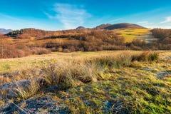 Beau paysage de matin avec le hoar sur l'herbe photographie stock libre de droits