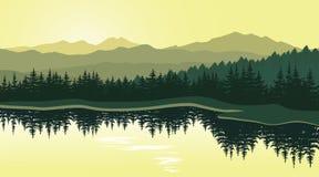 Beau paysage de montagne avec la réflexion dans le lac illustration stock
