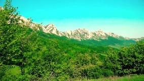 Beau paysage de montagne dans l'heure d'été banque de vidéos