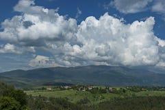 Beau paysage de nature d'été avec la clairière et la forêt vertes en montagne de Vitosha de tovard de montagne de Plana Photos stock